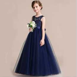 Wholesale Wedding Dresses Soft Elegant - Elegant navy blue lace dress, 2017 new soft collar, A swing skirt, mercerized waist belt, little girl birthday party, evening dress