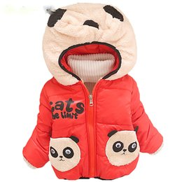 Wholesale Child Panda Jacket - Baby Boys Jacket For Boys 2017 Winter Warm Cotton Outwear Coats Kids Boy Cartoon Panda Hooded Jacket Children Clothes