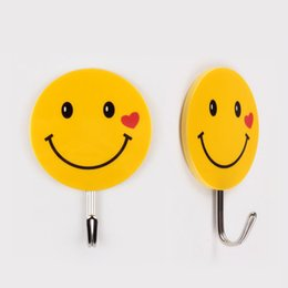 Wholesale Plastic Hook Adhesive - Stainless Steel Wall Hook Creative No Trace Smile Face Pattern Pothook Round Strong Adhesive Clothes Hooks Lovely 1 17zx B