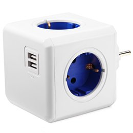 Wholesale Usb Multi Outlet - Allocacoc Smart Home PowerCube Socket EU Plug 4 Outlets 2 USB Ports Adapter Power Strip Extension Adapter Multi Switched Socket