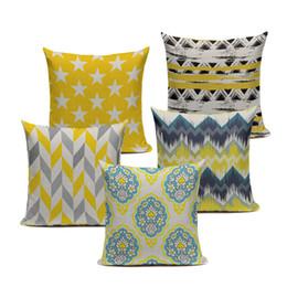 Wholesale Chevron Linen - Chevron Yellow Linen Cotton Geometry Decor Throw Pillows Case Linen for Sofa Car Cotton Cushion Cover Creative Decoration