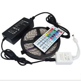 Wholesale Power Supply Keys - LED Strip light 5M 5050 SMD RGB Flexible WATERPROOF With 44 key IR Remote Controller With 12V 5A Power Supply 110V-240V via FEDEX