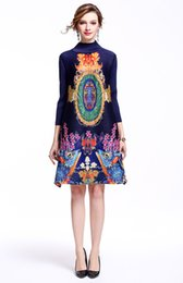 Wholesale Digital Print Vintage Dress - Spring Autumn Chinese Vintage National Style Fashion Three Quarter Sleeve Digital Printing Bodycon Dress Silm Skirt A-line Skirt for Women
