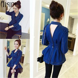 Wholesale Jean Hollow - Wholesale- 2016 Women Denim Jacket Plus Size Spring Jeans coat Jacket Women Double-breasted Backless hollow out jean Coat chaqueta mujer