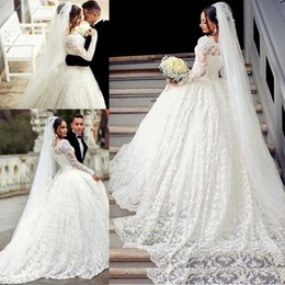 Wholesale Trumpet Mermaid Style Ball Dress - Ball Gown Lace Wedding Dress Applique Off The Shoulder Sheer Long Sleeve Wedding Dress With Long Train Arabic Style Bridal Gowns