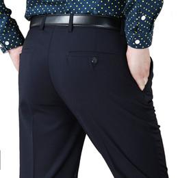 Wholesale Wool Silk Pants - Wholesale- 42 44 Men Suit Pants Wool Silk Thicken Work Pants Autumn Winter Business Casual Trousers Straight Classical Slim Dress Pants Men