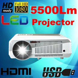 Wholesale high definition games - Wholesale-High Definition 5500Lumens High Contrast Ratio 5000:1 projector led HD 1080P led lamp Game DVD video home theater HDMI USB SD pr