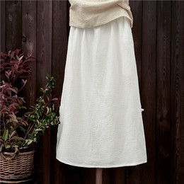 Wholesale Woolen Clothes Design - New design women summer Ankle-Length skirt lady cotton linen pleated skirts loose cool breathable female clothes