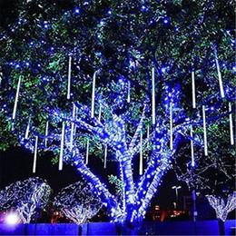 Wholesale White Led Light Emitting Diode - EU&US Plug Light-emitting diode tape 30cm 50cm LED Christmas Lights waterproof Meteor Shower Rain Tubes Light For Wedding Decoration 8 Tubes