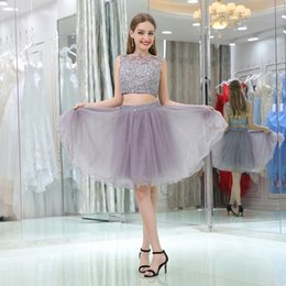 Wholesale Lace Tulle Girl Dress China - 2017 Short Two Piece Homecoming Dress Jewl Lace Applique Zipper Tulle Black Girl Cocktail Party Gwon Prom Graduation Dresses Made In China