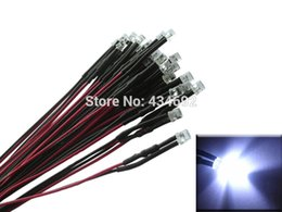 Wholesale 5mm Pre Wired Led - Wholesale- 20pcs 5mm White Flat Top Prewired led Pre-Wired resistors LED Light Lamp Bulb Cable Diodes DC12V For Boat Car Tree Decoration