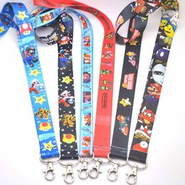 Wholesale Mario Cell Phone - New Fun 7 Styles Cartoon Lanyard Super Mario Bros Anime Key ID Card Cell Phone Neck Straps Slings Gifts Lanyards