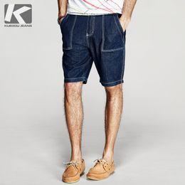 Wholesale Mens Short Pant - Wholesale- KUEGOU 2017 Summer Mens Casual Denim Pants Pocket Designer Blue Color Brand Clothing Man's Slim Jeans Male Shorts Trousers 2358