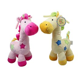 Wholesale Giraffe Music - Wholesale- Reborn Baby Pink Yellow Giraffe Plush toys with Music Box Bell Stuffed toys for Children Bed Crib Hanging dolls brinquedos LF100