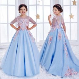 Wholesale Modelling Babies Dress - Half Sleeve Lace Flower Girl Dresses For Weddings Light Sky Blue Crystal Kids Ball Gowns Special Occasion Communion Dress
