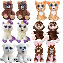 Wholesale Play Monkeys - 20 styles face change feisty pets animals plush toys cartoon monkey unicorn stuffed animal for baby party play trick