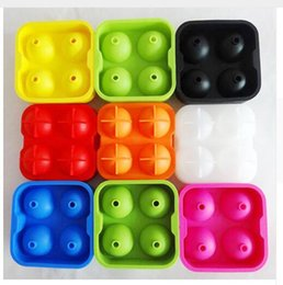 Wholesale Ice Drink Maker - Ice Cube Ball Silicone 4 Hole Drinking Wine Tray Brick Round Maker Mold Sphere Mould Party Bar Silicone Ice Hockey Maker Free Shipping