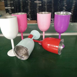 Wholesale Wine Bottle Insulated - 304 Stainless Steel Wine Glass 9 Colors Double Wall Insulated Metal Goblet With Lid Red Wine Mugs