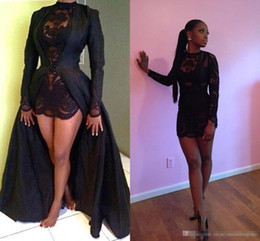 Wholesale See Through Dress Beading - Sexy Two Piece See Through Black Lace Short Prom Dresses Long Sleeve Detachable Coat Floor Length Arabic Evening Pageant dresses 2017 Cheap
