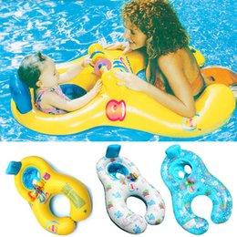 Wholesale Swim Ring Baby Double - Safe Soft Inflatable Mother Baby Swim Float Ring Kids Water Bathing Inflating floating Seat Double Person Swimming Ring
