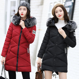 Wholesale Long Black Coat Feathers - Brand Women Winter Warm Hooded Coats Fashion Fur Collar Thicken Cotton-padded Down Jackets Female Casual Slim Long Overcoats