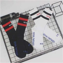 Wholesale Wholesale Long White Socks - Good Quality VETEMENTS Black White Brand Socks Teenager Skateboard Style Long Socks Letter Embroidery Athletes Leg Warmers Stripe Socks