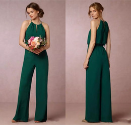 Wholesale Short Wedding Dress Empire Waist - Cheap 2017 Dark Green Flow Chiffon Bridesmaid Dresses Elegant Empire Waist Pant Suit Maid of Honor Gowns Wedding Guest Dress