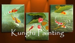Wholesale Large Wall Art Contemporary Landscape - 3-1024 100% Hand Painted Unframed Good Quality Large Canvas Contemporary Abstract Wall Art For Home Decoration Koi Fish