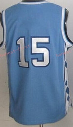 Wholesale Retro 15 - Retro 15 Vince Carter Jerseys North Carolina Tar Heels College Vince Carter Throwback Blue Black White Purple Stitched With Name Size 44-56