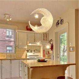 Wholesale Moon Pendant Lamp - Bedroom Moon Stars Pendant Lamps LED Modern Pendant Ceiling Light Lighting Lamp Living Room Chandelier Ceiling Light with G4 Bulb Lights