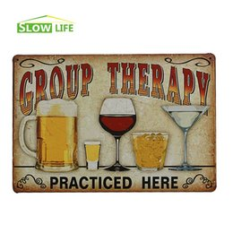 "Wholesale Whisky Bar Signs - Beer Wine Whisky Cocktail Group Therapy Vintage Home Decor Tin Sign 8""x12"" Bar Pub Wall Decorative Metal Sign Retro Metal Poster 20170408#"