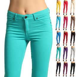 Wholesale Multi Pocket Trousers Jeans - NEW Arrivals Wholesale and retail Fashion Women's 24 Colors Casual Skinny Leg Pencil Pants Cotton Blends Stretchy Jeans Trousers CL099