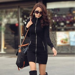 Wholesale Ladies Dress Jackets Wholesale - Wholesale-Lady Women Long Slim Jacket Casual Zipper Sweater Dress Coat Blouse