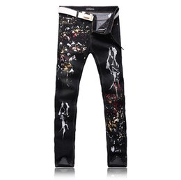 Wholesale Korean Men Pants For Sale - Hot sale Metrosexual printing men's jeans pants personality Mens pants slim Korean tide Club flower youth jeans Robin Jeans for men