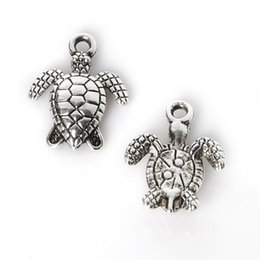 Wholesale 14k Turtle - Wholesale- New Style 12Pcs lot 12*16mm Zinc Alloy Antique Silver Plated Sea Turtle Charms Pendants Jewelry Findings For Necklace Braclets