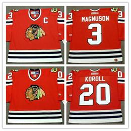 Wholesale Game Worn Jersey - Mens White Chicago Blackhawks #3 KEITH MAGNUSON Throwback VINTAGE Jerseys #20 CLIFF KOROLL Blackhawks Game Worn Red hockey Jersey S-3XL