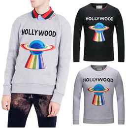 Wholesale Slim Jumper - Planet Cotton Sweatshirt Sweat Pullover Top Men's Embroidery LOVED HOLLYWOOD Causual Jumpers Guy 3XL Size Gray Black