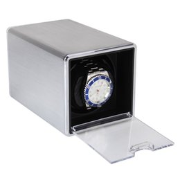 Wholesale Single Watch Display - Wholesale-High Quality Durable Rectangle Single Mute Automatic Watch Winder Display Box Gift Silver Hot Sale