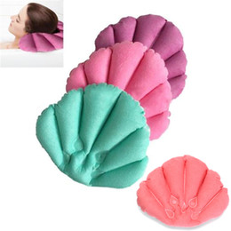 product spa Promo Codes - Wholesale- 1 Pc Bathroom Products New Home Spa Inflatable Pillow Cups Shell Shaped Neck Bathtub Cushion Random Color