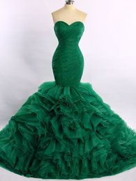Wholesale Sexy Gorgeous Evening Dress Cheap - New 2017 Mermaid Organza Green Evening Dresses Prom Wear Sweep Train Mermaid Gorgeous Evening Gowns Cheap Formal Dress Real Image