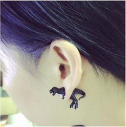 Wholesale Dinosaur Plates - Cute 3D Dinosaur Ear Stud Earring Statement Tyrannosaurus Ear Cuff Studs Earrings 3D Animal Ear Jewelry for Man and Women