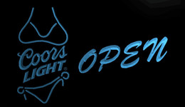 Wholesale Coors Neon Beer Light - LS716-b-Coors-Light-Bikini-Beer-OPEN-Bar-Neon-Light-Sign.jpg Decor Free Shipping Dropshipping Wholesale 6 colors to choose