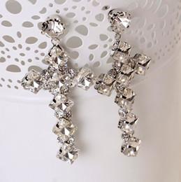 Wholesale Long Black Cross Earrings - New Arrival Vintage Black Crystal Cross Drop Earrings for Women Baroque Bohemian Large Long Earrings Jewelry Brinco 2017 E202