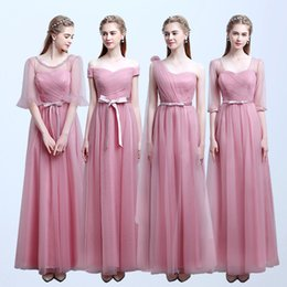 Wholesale Empire Wedding Dress Convertible - long bridesmaid dresses Pink Long Chiffon Wedding Formal Evening Party Bridesmaid Dress Ball Gown Evening Party