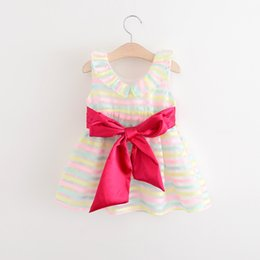 Wholesale Baby Girl Party Dress Striped - Girls Striped Dresses Baby Girl Princess Bow Dress Kids Girls Summer Party Dress 2017 childrens Korean clothing