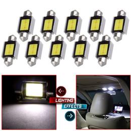 Wholesale Car Roof Fog Light Led - 10Pcs LED Festoon 36mm Canbus COB Car Auto dome LED lamp Roof Map Interior Lights Bulbs White Lamps DE3423 DE3425 C5W 3423 DC12V
