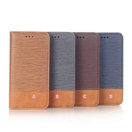 Wholesale Vertical Wallet Id - Wallet Case For Iphone 8 8G 8th Vertical Line Leather TPU ID Card Slot Kickstand Holder Hybrid Hit Color Flip Cover Skin Luxury Pouches