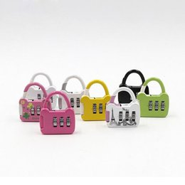 Wholesale Mini Padlocks - Mini 3 Digit Combination Travel Luggage Code Lock Password Padlock Security Small Suitcase Lock Home Using Resettable ZA2935