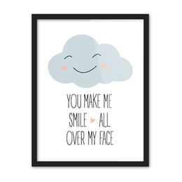 Wholesale poster making - Free shipping gift you make me smile all over my face words cloud heart pattern home decorative hanging poster photo picture