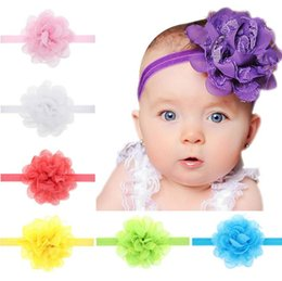 Wholesale Order Chiffon Fabric - Best gift Chiffon Lace Flower Children 's Hairband baby hair ornaments TG070 mix order 30 pieces a lot
